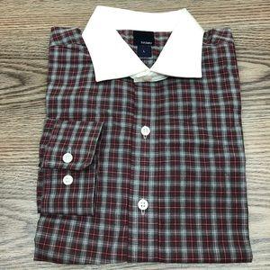 Hickey NWT Red & Grey Plaid White Collar Shirt L